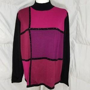 Fun pink and purple sweater shirt, size XL